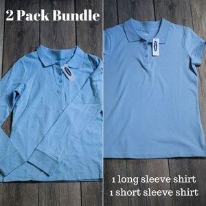 Old Navy Girls Light Blue Polo Uniform Bundle